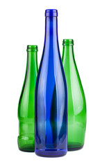Green and blue empty bottles