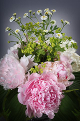 bouquet of pink peonies and daisies