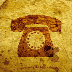 Retro telephone. Flat modern web  design