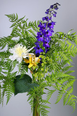 bouquet of fern, peony, iris, aconite on a gray background