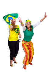 Brazilian girls fans celebrating