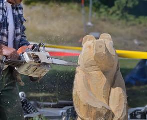 ébauche d'ours sculpté,fête de village