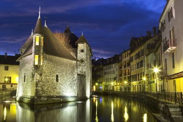 Castle in Annecy at night.