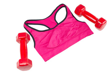 Bra and dumbbells, sports equipment, isolated
