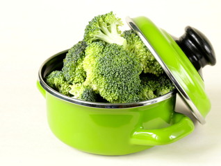 fresh green cabbage broccoli in the pan