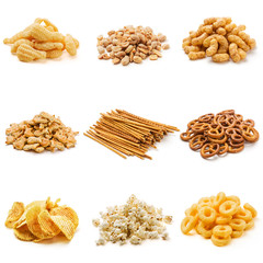 Snack collection on white background