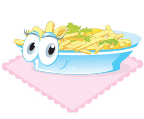 Funny plate with fried potatoes