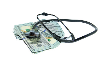 Money with the stethoscope isolated on white background
