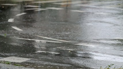 Rain at street, drops falling to puddle and asphalt