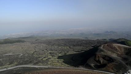 etna volcano caldera view after eruption