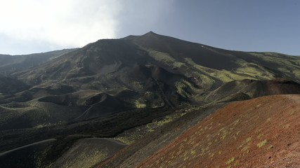 etna volcano caldera view after eruption