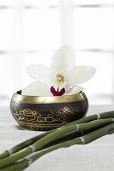 Klangschale,  Orchidee