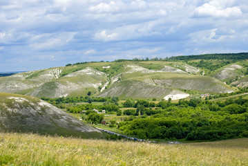 Chalk hills near the village Kostomarovo Voronezh region, Russia
