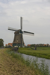 Traditional Dutch windmill, near Volendam, Netherlands