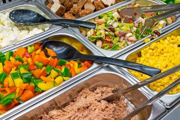 Salad variety at a buffet