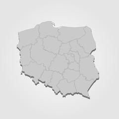 Landkarte Polen in grau