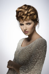 woman with lovely elegant hairdo