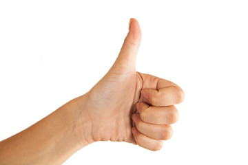 female hand thumbs up isolated on white background