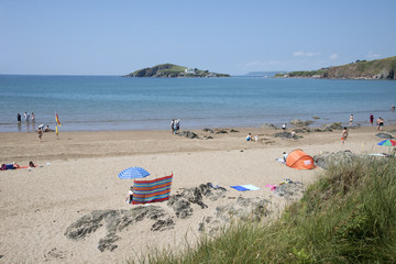 Bantham Beach towards Burgh Island and Bigbury on Sea Devon UK