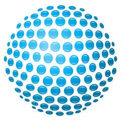 Glänzende, hellblaue 3D-Kugel aus Kreisen – freigestellt