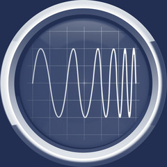 Signal with frequency modulation (FM) in blue tones