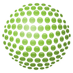 Glänzende, hellgrüne 3D-Kugel aus Kreisen – freigestellt