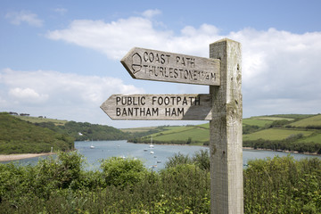 Signpost and River Avon at Bantham South Devon England UK