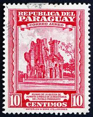 Postage stamp Paraguay 1946 Ruins of Humaita Church