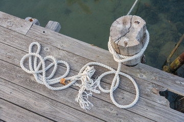 Ropes on the harbor deck