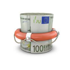 Life ring money roll euros