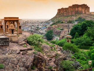 Panoramic view of Mehrangarh fort, Jodhpur, Rajasthan, India