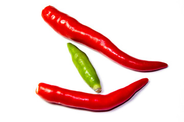 Red hot chili isolated on white background