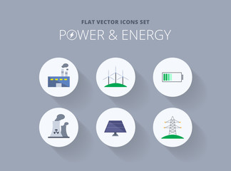 Flat vector icons set - power and energy