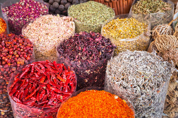 Spices and herbs on the Deira market of Dubai, UAE