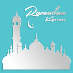 Paper Islamic Architecture Ramadan Kareem Card