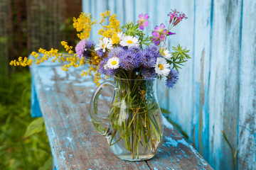 bouquet of garden flowers and healing herbs