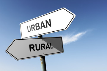 Urban and Rural directions. Opposite traffic sign.