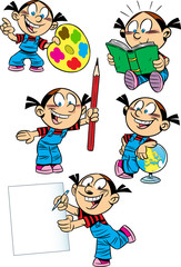 Cartoon girl with school subjects