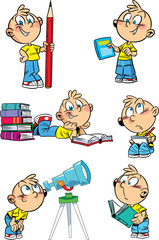 Cartoon boy with school subjects
