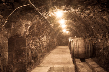 Oak barrels in the tunnel of Tokaj winery cellar, Hungary
