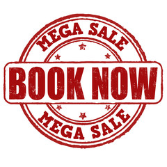Mega sale, book now stamp