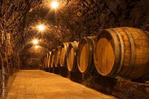 Poster Oost Europa Oak barrels in the tunnel of Tokaj winery cellar, Hungary