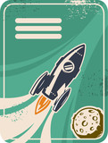 Retro card with rocket flying through Outer Space poster