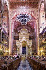 Dohany Street Synagogue (Great synagogue) interior in Budapet, H