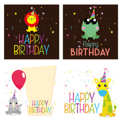 Set Of Different Cute Happy Birthday Cards