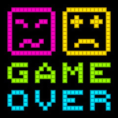 8-Bit Pixel-Art Retro Arcade Game Over Message. EPS8 Vector