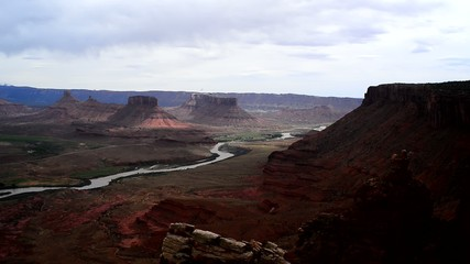 Professor Valley Overlook slow pan along colorado river Utah - n
