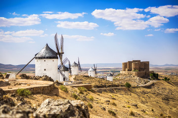Medieval castle and windmills of Consuegra in Toledo province
