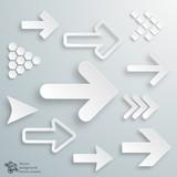 Infographic Vector White Arrow Button