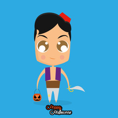 Boy With Aladdin Halloween Costume Isolated